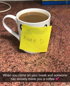 Social media post about feeling good becuse a colleague has made you a brew!